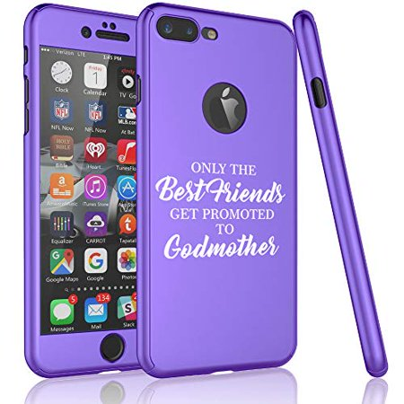 360° Full Body Thin Slim Hard Case Cover + Tempered Glass Screen Protector F0R Apple iPhone The Best Friends Get Promoted to Godmother (Purple, F0R Apple iPhone 7 Plus / 8