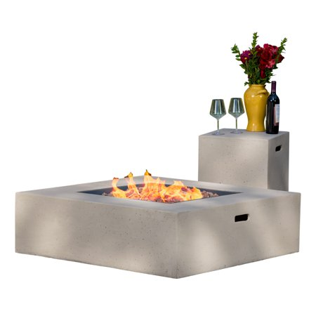Hayes Square 50k Btu Outdoor Gas Fire Pit Table With Tank