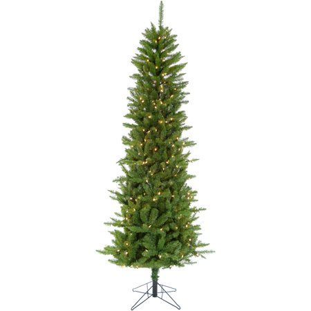 Christmas Time 7.5-Ft Prelit Winter Wonderland Slim Green Christmas Tree with EZ Connect Clear Smart Lights and Metal Stand ()