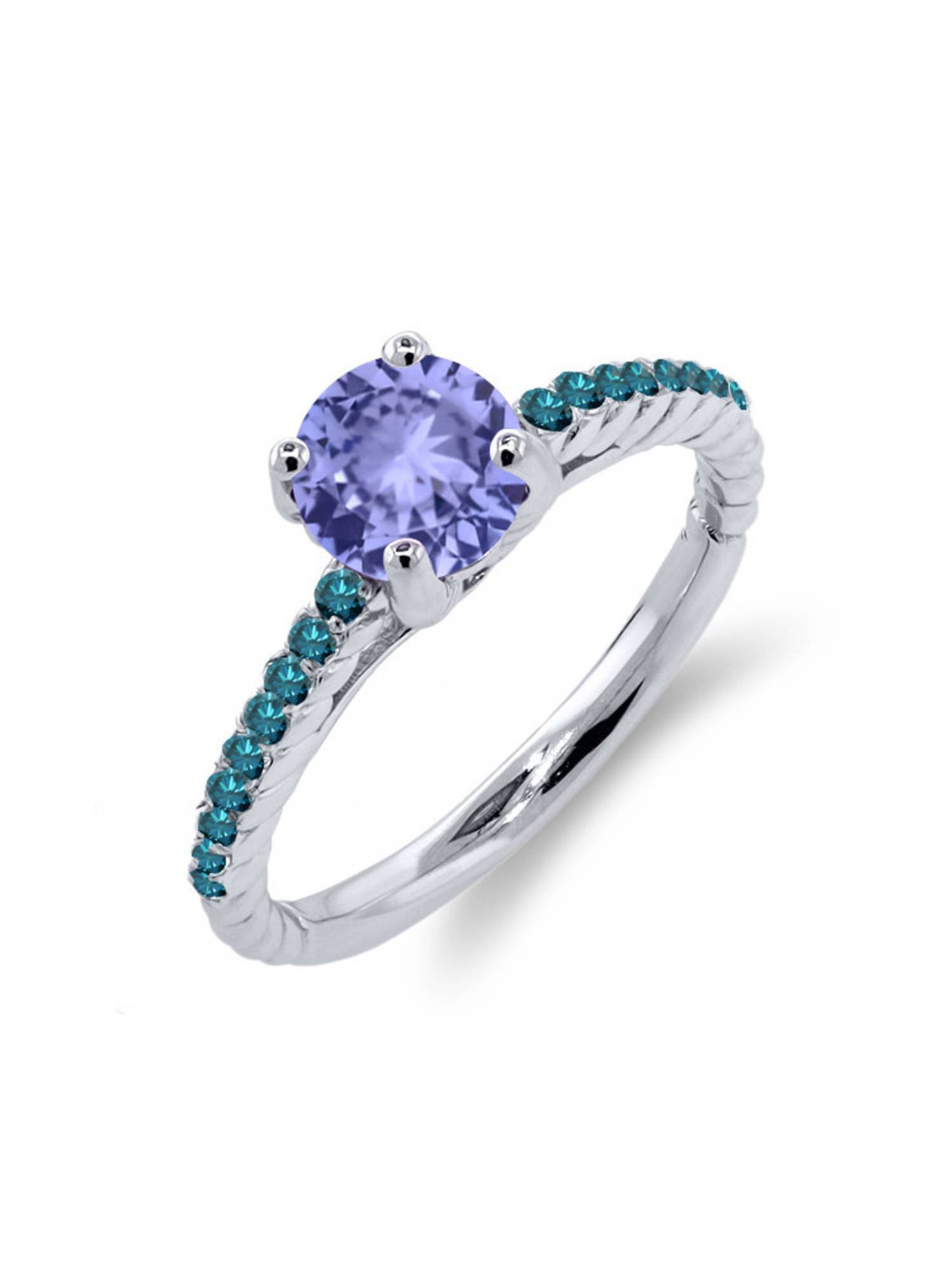 1.12 Ct Round Blue Tanzanite Blue Diamond 925 Sterling Silver Ring by