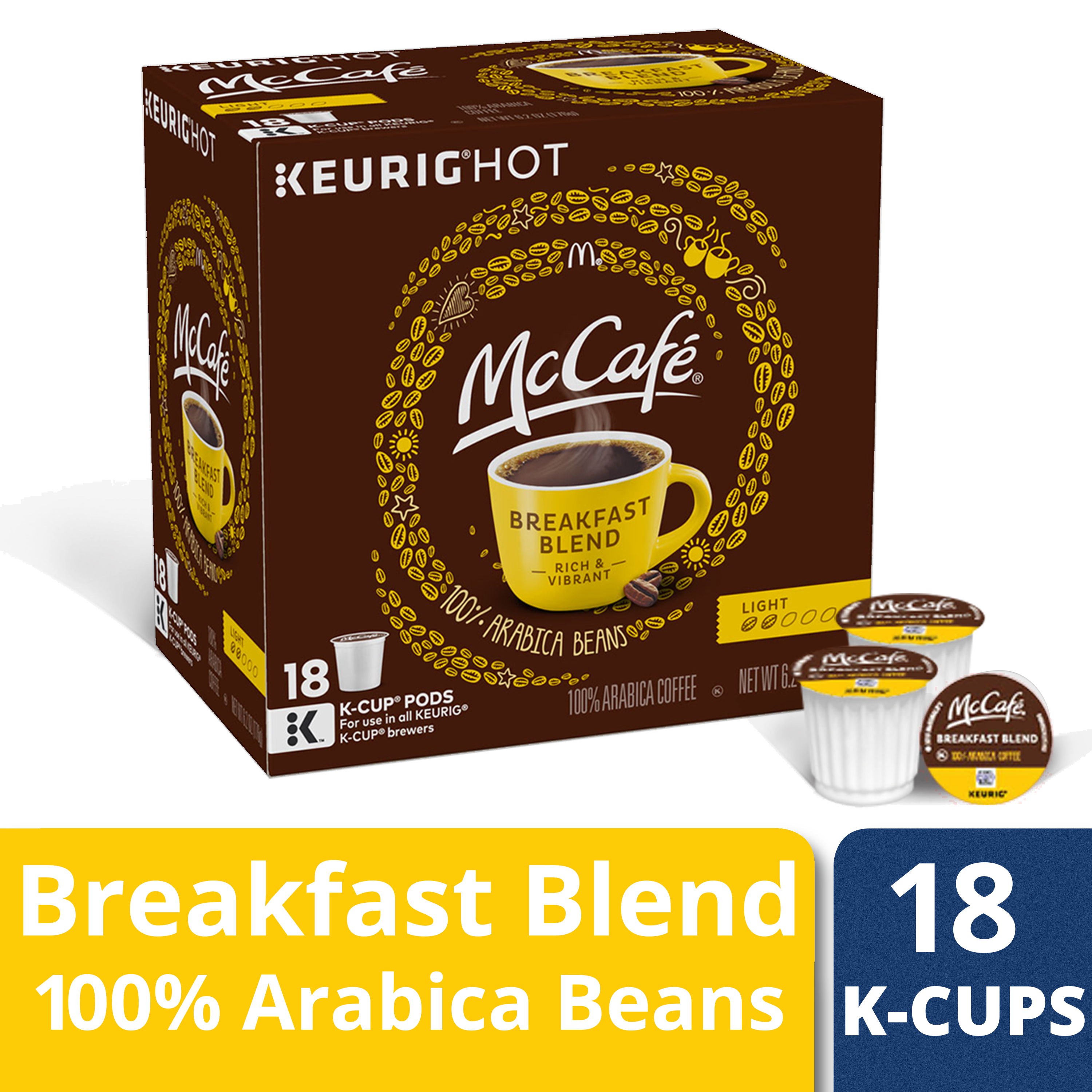 McCafe Breakfast Blend Coffee K-Cup Pods 18 ct Box