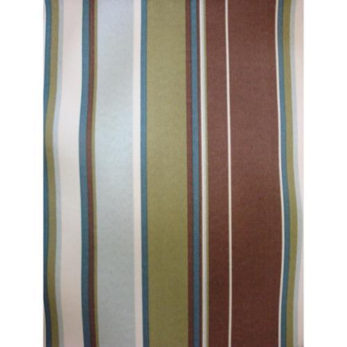 Moroccan Storage Ottoman in Urban Mahogany-Fabric:Green & Brown Stripes
