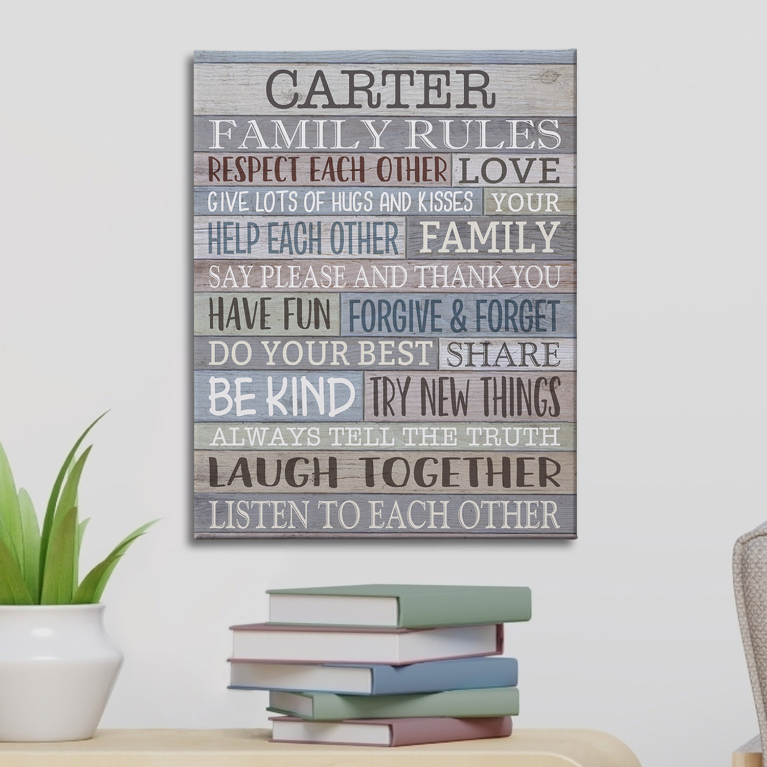 Personalized Rustic Family Rules Canvas - Available in 3 Sizes