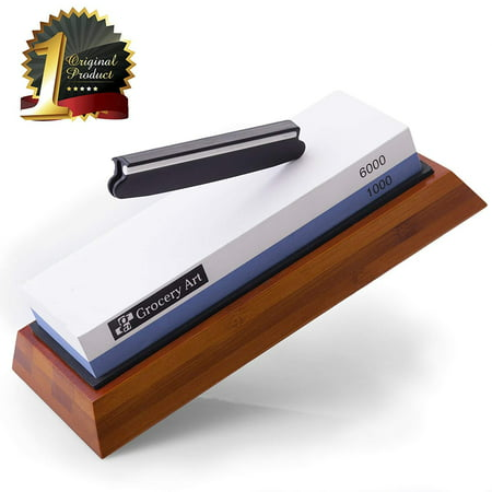 Whetstone Knife Sharpener - Knife Sharpening Stone - Waterstone 1000-6000 Grit with Non-Slip Bamboo Base and Angle Guide - Best Wet Stone Kitchen Knives Sharpening