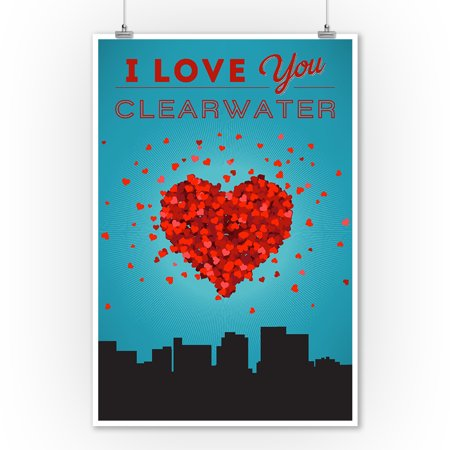 I Love You Clearwater  Florida   Lantern Press Artwork  9X12 Art Print  Wall Decor Travel Poster