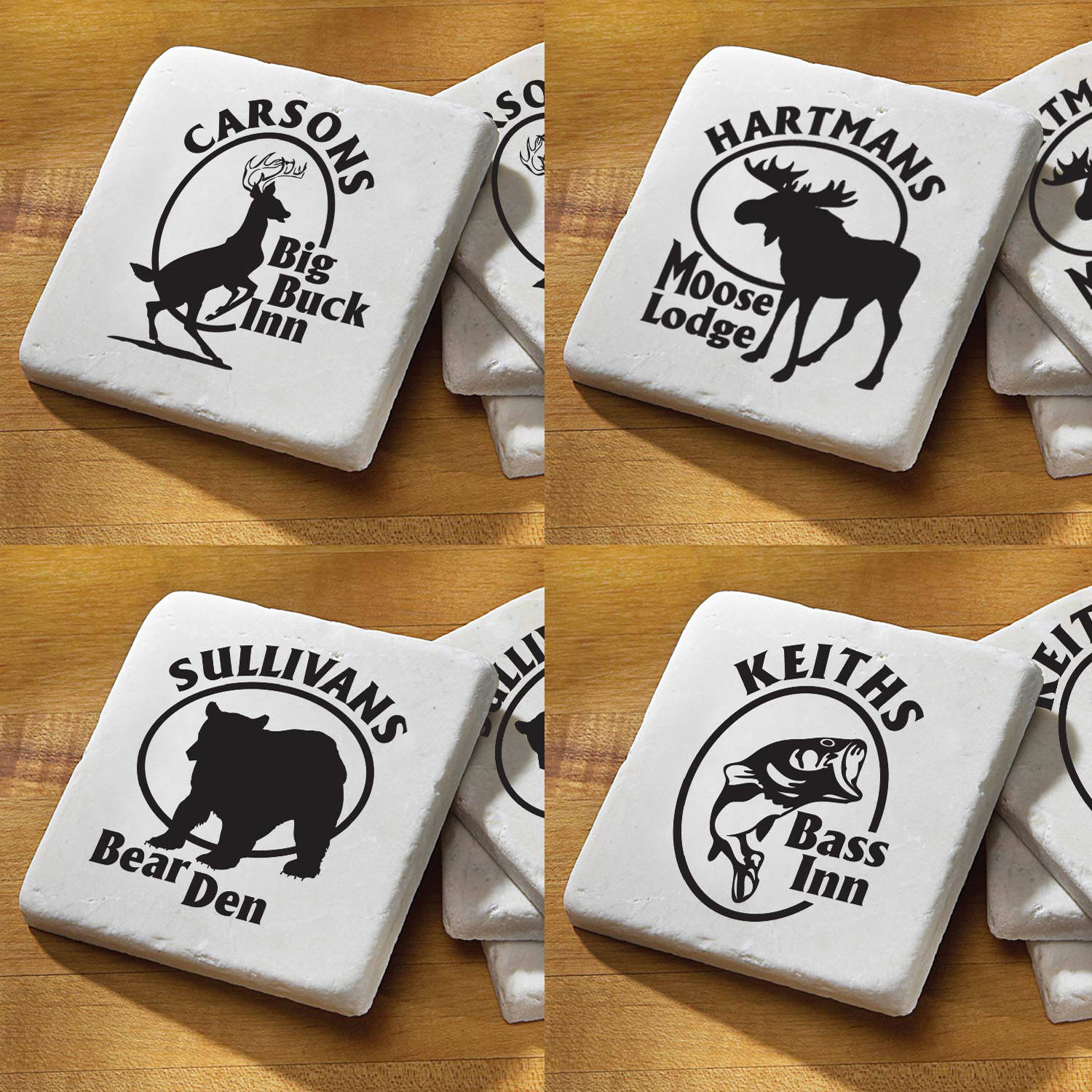 Personalized Outdoorsman Design Coaster Set, Available in 4 Designs