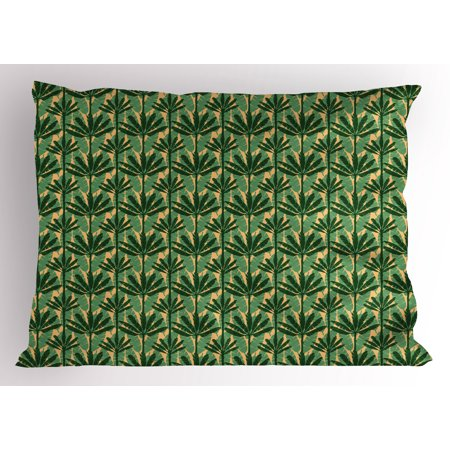 Banana Leaf Pillow Sham Overlapping Windmill Palm Trees and Leaves Pattern, Decorative Standard King Size Printed Pillowcase, 36 X 20 Inches, Emerald Jade Green and Pale Yellow, by Ambesonne ()
