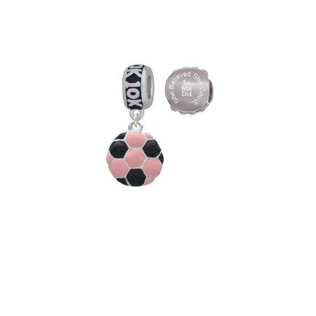 2-D Pink Soccer ball 10K Run She Believed She Could Charm Beads (Set of - Soccer Ball 10k Charm
