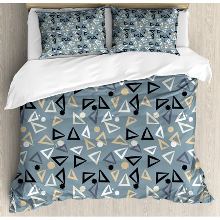 Grunge Queen Size Duvet Cover Set, Hand Painted Style Triangles and Blots Simple Geometric and Artistic Composition, Decorative 3 Piece Bedding Set with 2 Pillow Shams, Multicolor, by Ambesonne Hand Painted Queen