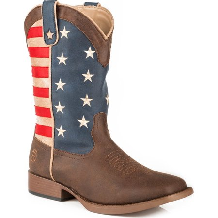 Roper Boys' American Patriot Western Boot Square Toe - 09-119-1902-0380 Br - Cowboy Hats And Boots