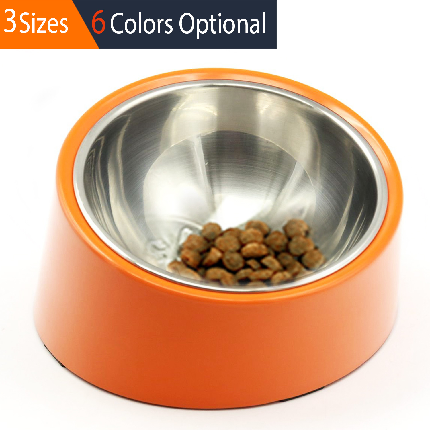 SUPER DESIGN Detachable Stainless Steel Food Bowl with 15 Degree Slanted Anti-Skid Melamine Stand, for Dogs and Cats