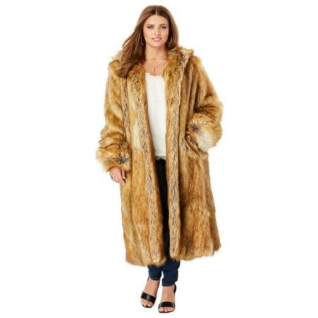 Jackets Mid Length Jacket - Roamans Plus Size Full Length Faux-fur Coat With Hood