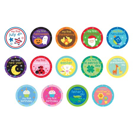 Tiny Ideas Baby's First Holiday Belly Stickers, 14 Holidays Included