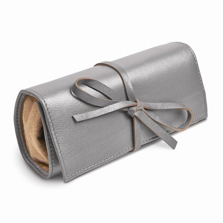 Silver Leather Tie Jewelry Roll ()
