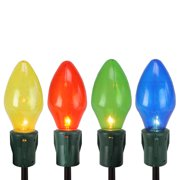Set of 4 Lighted Multi-Color Jumbo C7 Bulb Christmas Pathway Marker Lawn Stakes