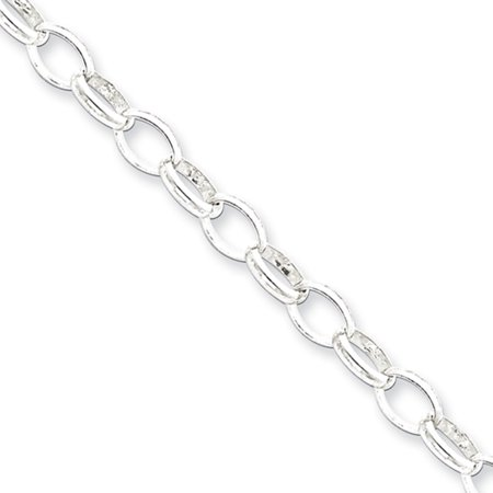 5mm, Sterling Silver Oval Solid Rolo Chain Bracelet, 8 Inch