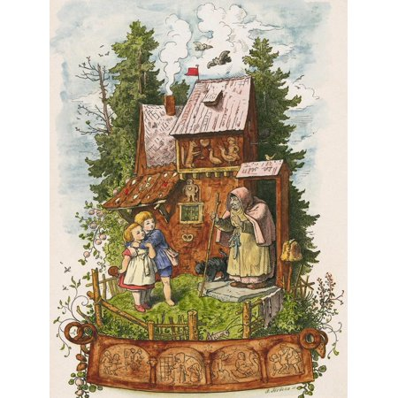 Hansel and Gretel Outside the Gingerbread House Print Wall Art By Ludwig