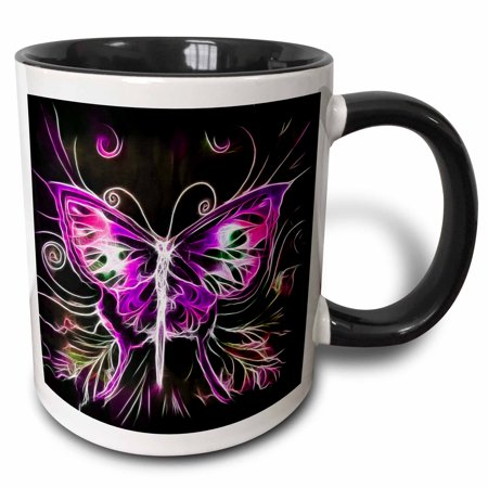 3dRose Pretty Pink And Purple Fractal Butterfly - Two Tone Black Mug, 11-ounce ()