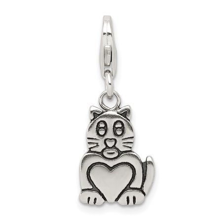 925 Sterling Silver Cat Pendant Charm Necklace Animal Fine Jewelry For Women Gifts For Her - image 6 de 6