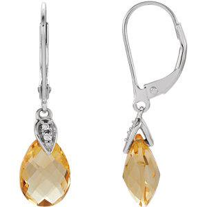 Bella Grace Jewelry Collection 14K White Citrine & .025 CTW Diamond Earrings