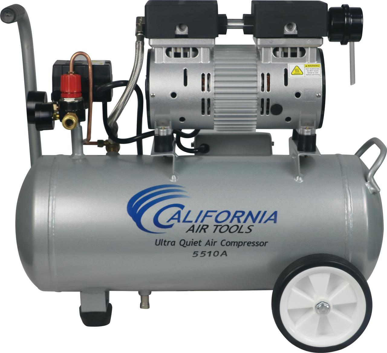 California Air Tools 5510A Ultra Quiet & Oil-Free 1.0 Hp, 5.5 Gal. Aluminum Tank Air Compressor