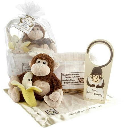Baby Aspen Gift Set with Keepsake Basket Five Little Monkeys,