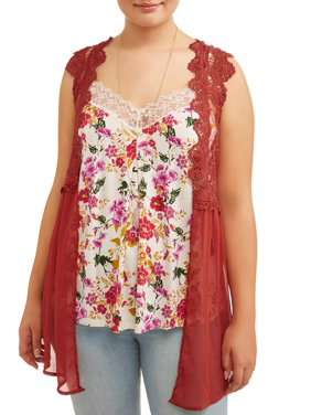 a069938e9abf4 Product Image Juniors  Plus Size Lace Vest and Cami 2Fer with Necklace