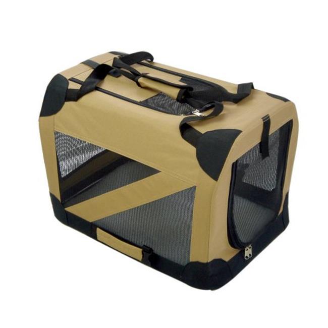 Pet Life H2KHXL Khaki 360 Degrees Vista Folding Soft Crate - XL