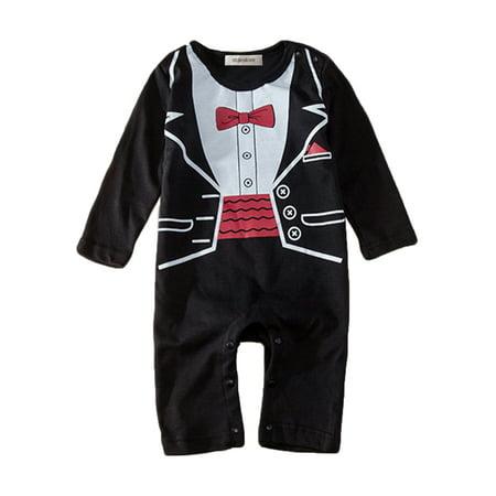 e19a0ca7b79b StylesILove - StylesILove Baby Boy Tuxedo Print Romper Onesie Black ...