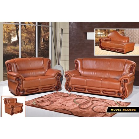 Meridian Cherry - Meridian 632 Traditional Cognac Bonded Leather Rich Cherry Living Room Sofa