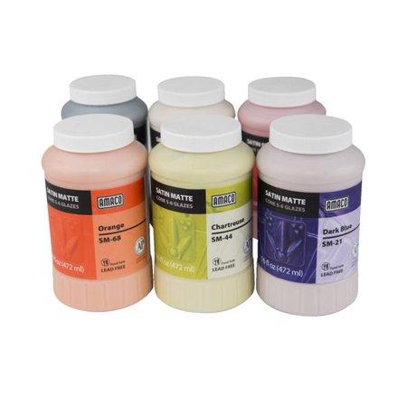 Amaco Satin Matte Glaze Classpack No. 1, 16 oz Jars, Assorted Colors, Set of 6