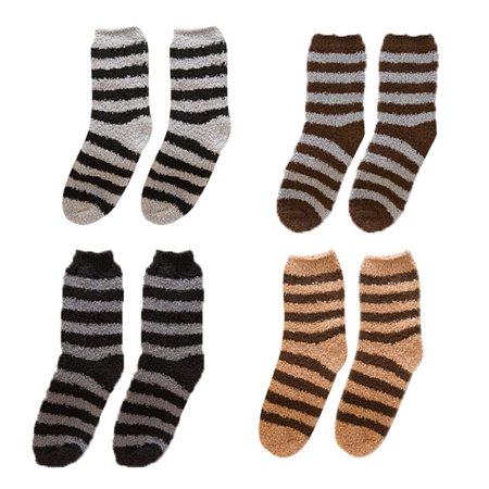 4 Pairs Plush Cocks Breathable Thicken Coral Velvet Warm Fuzzy Socks Short Socks Casual Socks for Men Boys - Fuzzy Socks Men