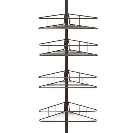 Kenney 4-Tier Spring Tension Shower Corner Pole Caddy with Razor Holder, Oil Rubbed Bronze