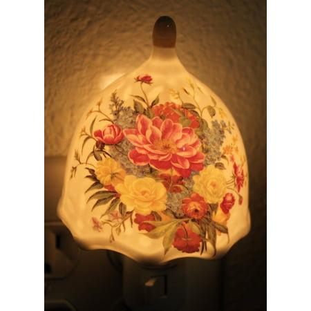- Mulitcolored Peony Flowers Porcelain Vintage Night Light Lamp Home Decor