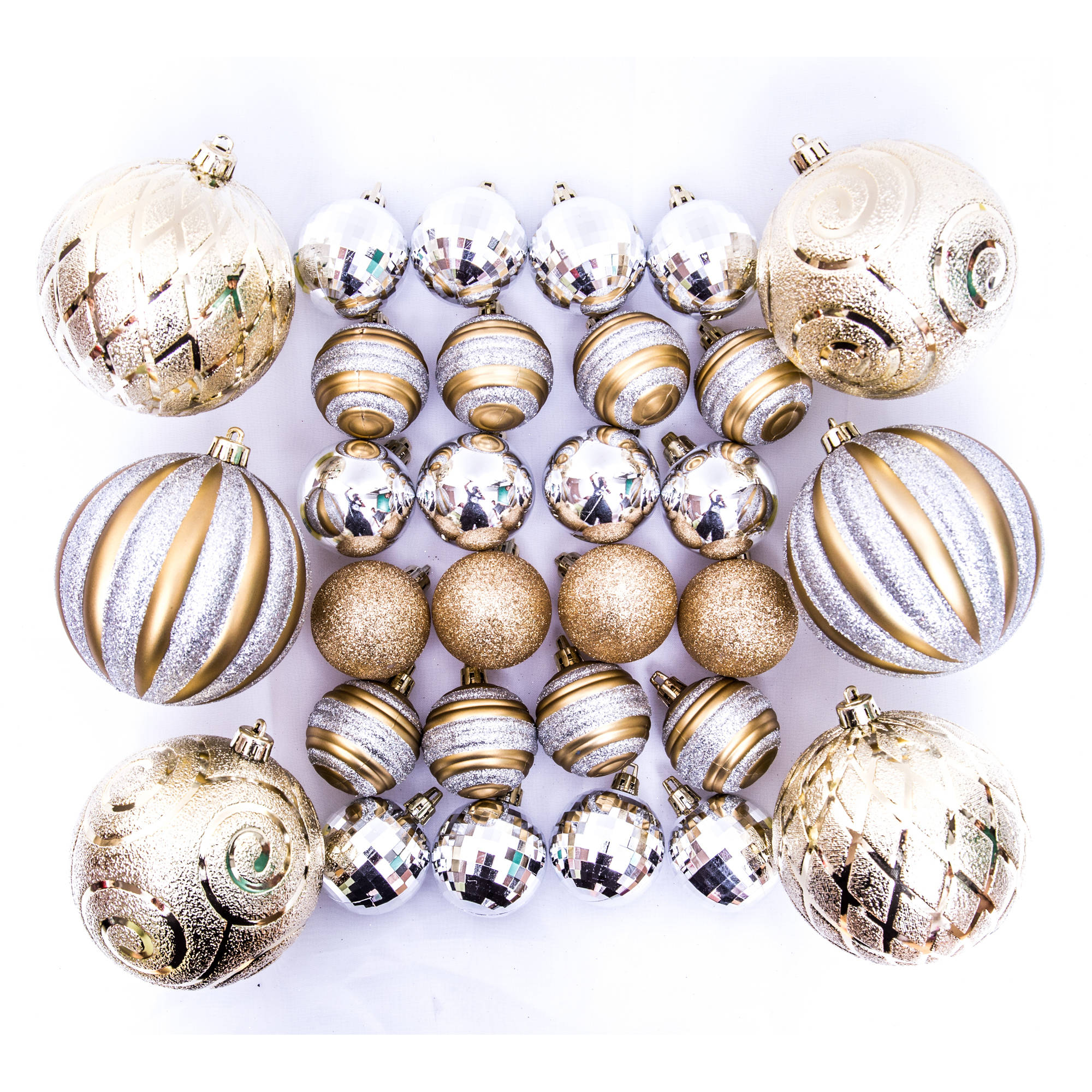 holiday time christmas ornaments traditional shatterproof set of 30 gold silver walmartcom