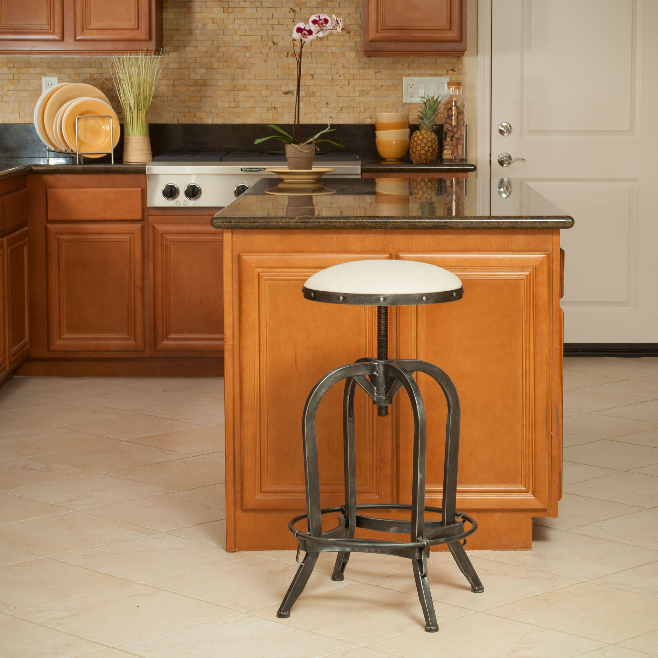 Garden Grove Steel Fabric Barstool