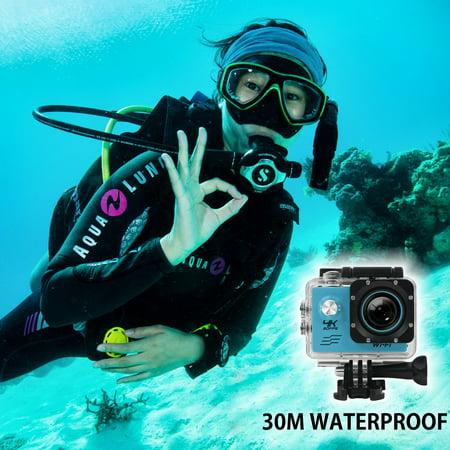 AGPtek Sports Action Camera Ultra HD 4K Waterproof DV Camcorder 12MP 170 Degree Wide Angle Diving Camera - image 4 of 7
