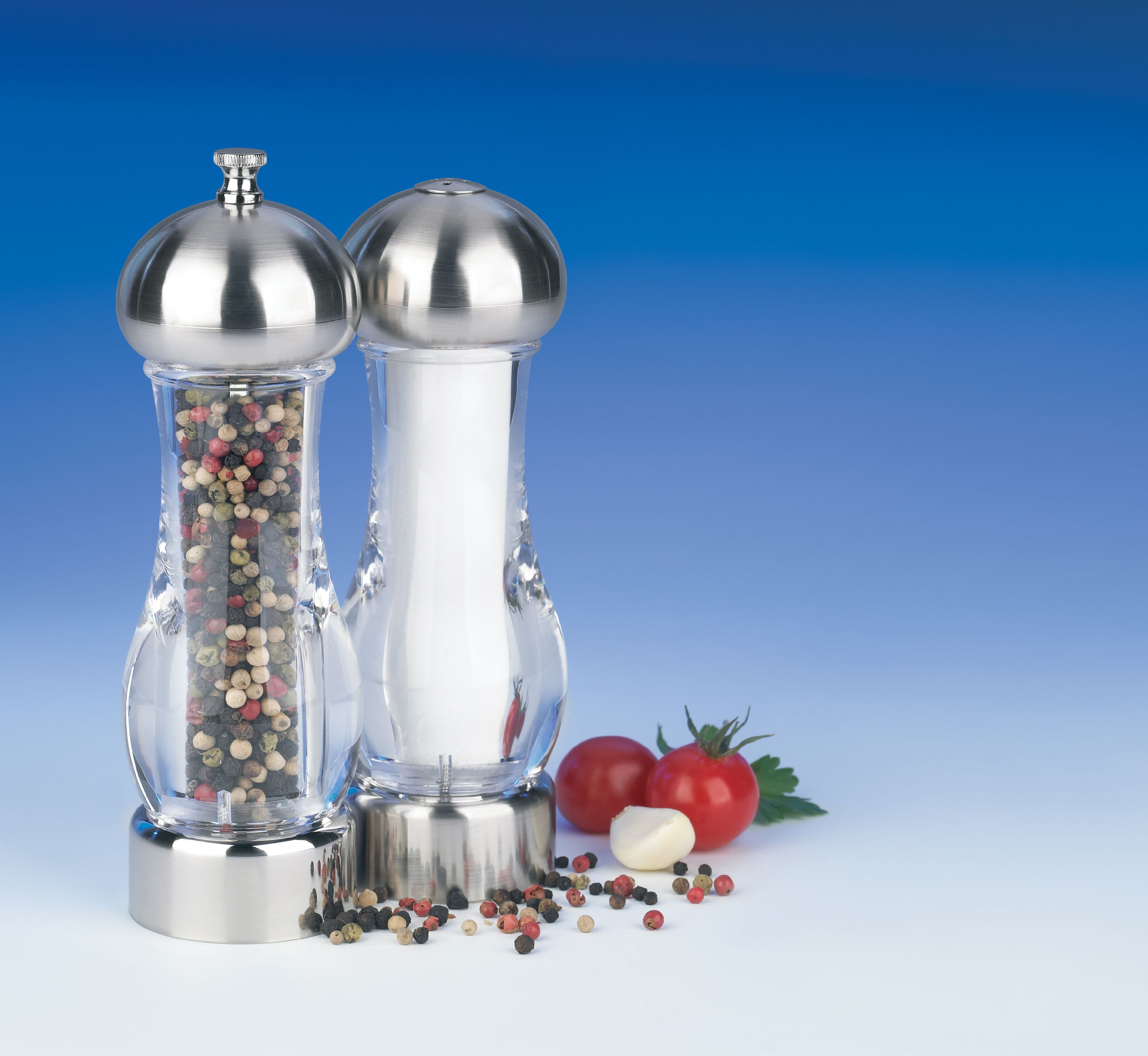 "Trudeau Maison Pepper Mill & Salt Shaker 7""-Chrome & Clear"