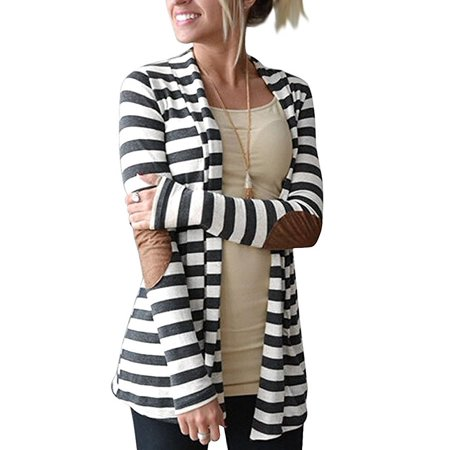 Shawl Collar Wrap Cardigan (Women's Black White Elbow Patch Shawl Collar Summer Striped Open Front Cardigan Sweaters Coat)