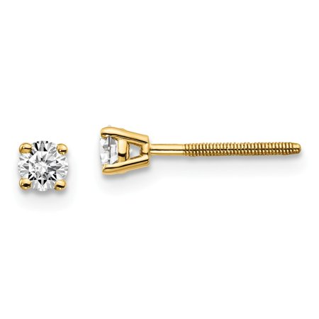 Roy Rose Jewelry 14K Yellow Gold 1/4-Carat SI3 G-I Diamond Stud Thread on/off Post Earrings