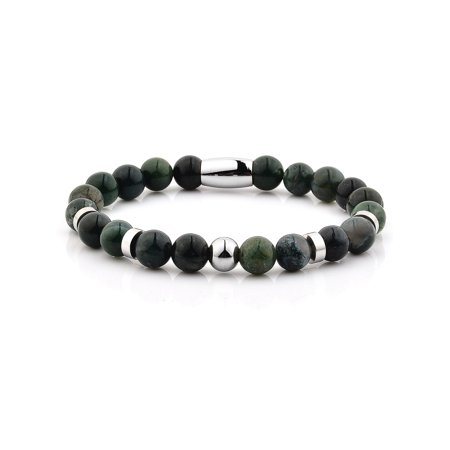 Moss Agate Stone Stainless Steel Beaded Bracelet (8mm)