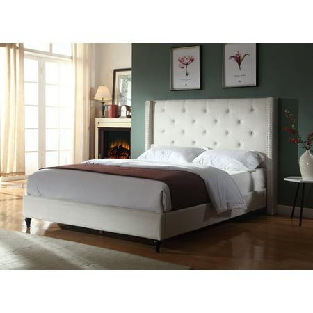 Best Master Furniture Veronica Tufted Wingback Platform Bed Natural Beige, Cal.
