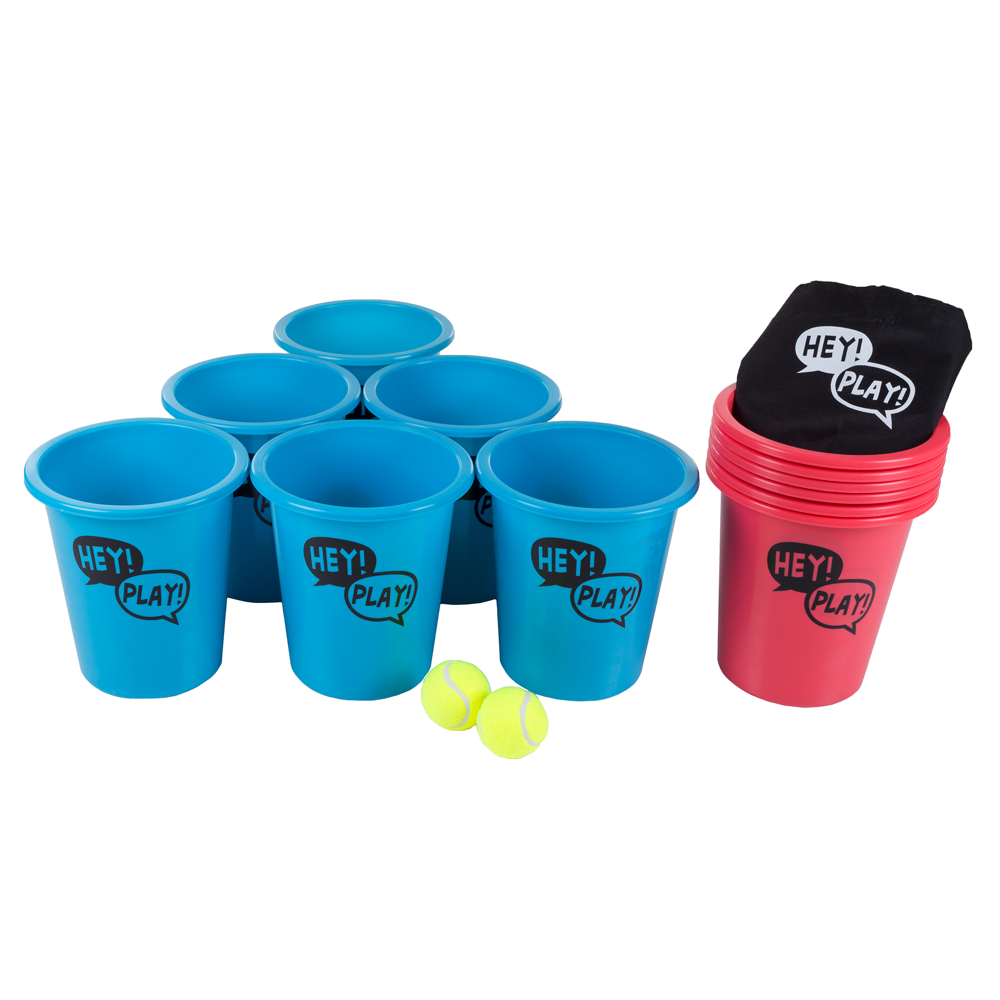 Bucket Ball Giant Beer Pong Outdoor Game Set for Kids and Adults with 12 Buckets, 2 Balls, Tote Bag by Hey! Play!