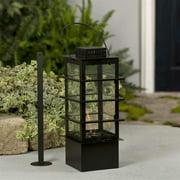 "17"" Sleek Linear Black Lotus Style Gas Flame Pot Glass Lantern with Snuffer"