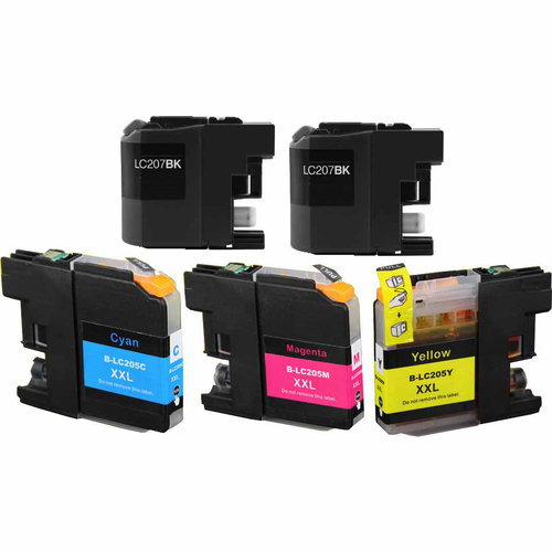 Universal Inkjet Compatible Multipack for Brother LC207/LC205, 5-Pack