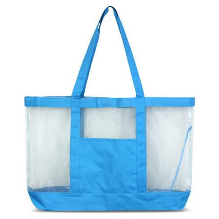 (Zodaca Women Large Oversize Mesh See Through Tote Carry Bag Handbag for Beach Camping Grocery Shopping - Blue)