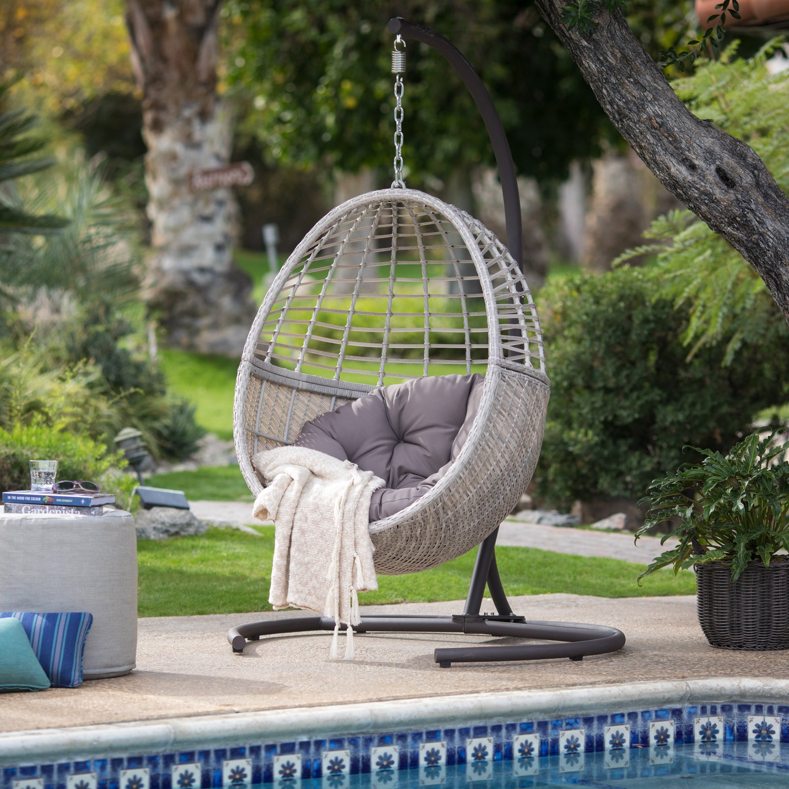 Island Bay Palma Resin Wicker Hanging Egg Chair With Cushion And Stand