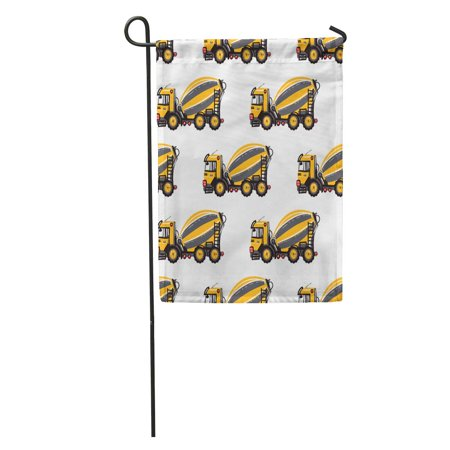 LADDKE Concrete Hauler Cement Mixer Inspired by Road Building Machinery for Children Room Mobile Garden Flag Decorative Flag House Banner 12x18 inch ()