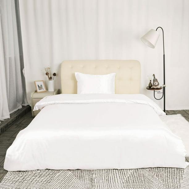 Satin Silk Comforter Duvet Cover, White Bedding For Twin Bed