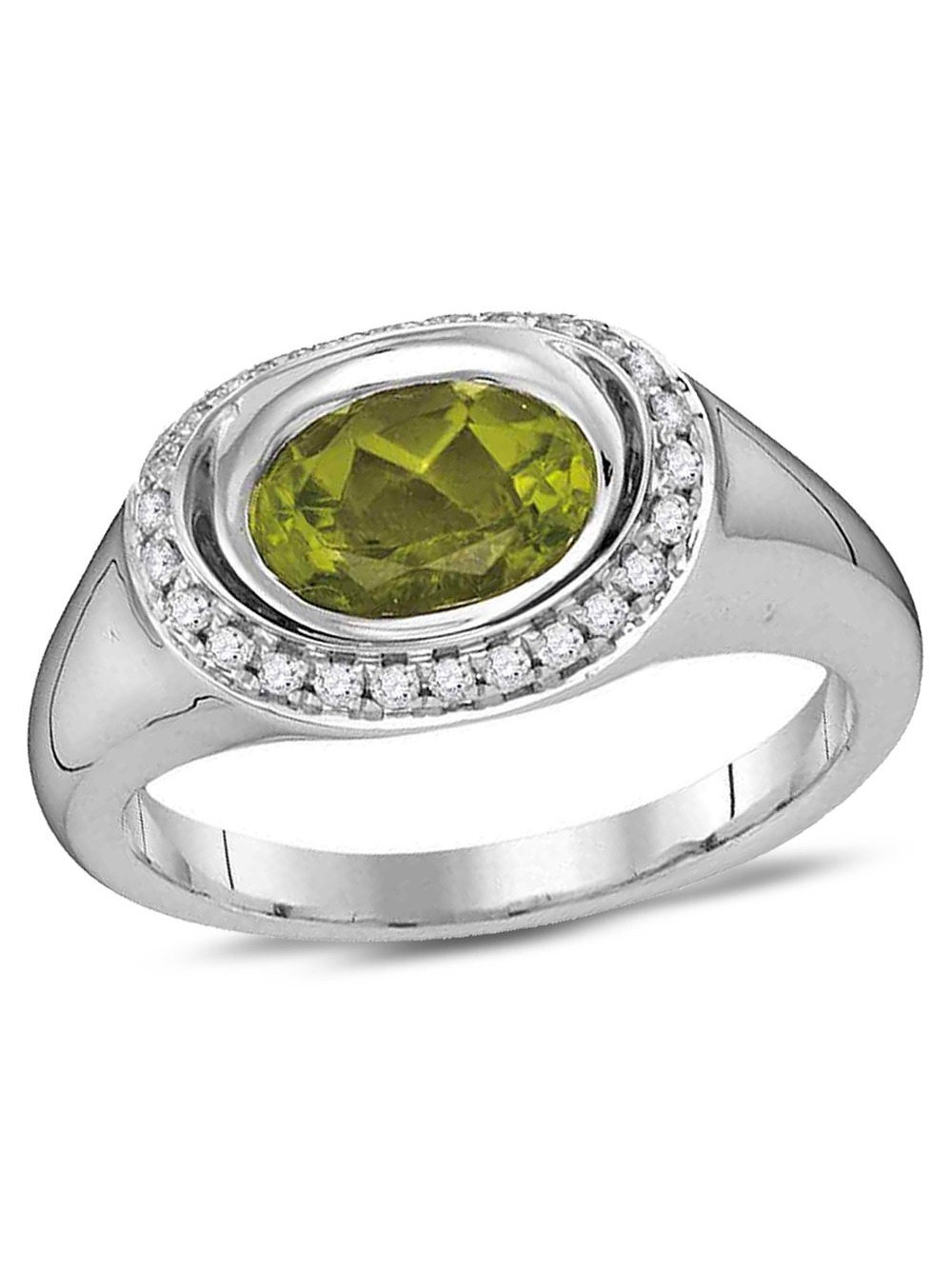 Natural Peridot Ring 1.30 Carat (ctw) in 14K White Gold with Diamonds 1 6 Carat (ctw G-H, SI2) by Gem And Harmony